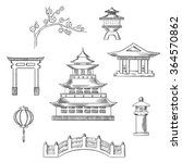 japan travel icons in sketch... | Shutterstock .eps vector #364570862