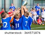 young soccer players holding... | Shutterstock . vector #364571876