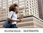 side portrait of a smiling... | Shutterstock . vector #364586096