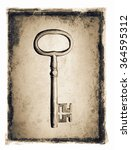 old key ion a grunge distressed ...   Shutterstock . vector #364595312