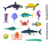 Vector Set Of Sea Marine Fish...
