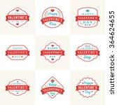 set of vintage happy valentines ... | Shutterstock .eps vector #364624655