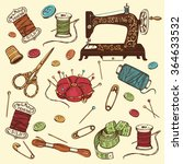 hand drawn set of sewing tools. ... | Shutterstock .eps vector #364633532