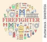 firefighter uniform and first... | Shutterstock .eps vector #364654316
