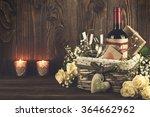 red wine bottle  two wine... | Shutterstock . vector #364662962