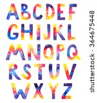 watercolor cosmic alphabet on... | Shutterstock . vector #364675448