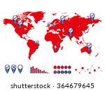 world map and graph bar... | Shutterstock .eps vector #364679645