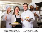 positive smiling waitress and... | Shutterstock . vector #364684835