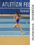 Small photo of ISTANBUL, TURKEY - DECEMBER 12, 2015: Athlete Meltem Yasar runs during Turkish Athletic Federation Olympic Threshold Indoor Competitions