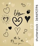different symbols of hearts and ... | Shutterstock .eps vector #364692596