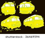Yellow Retro Buses Vector Set (hand drawn) - stock vector
