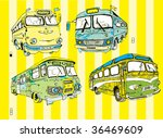 Colorful Retro Buses Vector Set (hand drawn) - stock vector