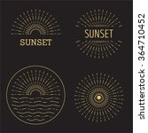 Set Of Vector Sunset Hipster...