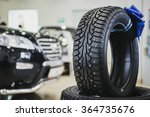 stack of car tires in the...   Shutterstock . vector #364735676