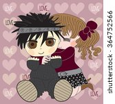 cute girl and boy with hearts... | Shutterstock .eps vector #364752566