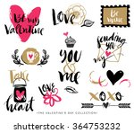 valentines day hand drawn... | Shutterstock .eps vector #364753232