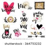 valentines day hand drawn... | Shutterstock .eps vector #364753232