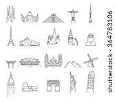 landmark icons on white... | Shutterstock .eps vector #364783106
