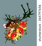 the head of a deer in red... | Shutterstock .eps vector #364797656