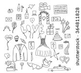 set wedding symbols and signs... | Shutterstock .eps vector #364811828