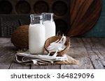 coconut vegan milk non dairy in ... | Shutterstock . vector #364829096