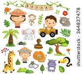 safari kids and animal vector... | Shutterstock .eps vector #364837478