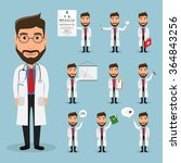 set of doctor character at... | Shutterstock .eps vector #364843256