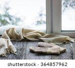 beige woolen scarf and mittens... | Shutterstock . vector #364857962