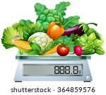 fresh vegetables on the scales... | Shutterstock .eps vector #364859576