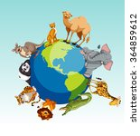 wild animals around the earth... | Shutterstock .eps vector #364859612
