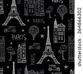 vector black white paris... | Shutterstock .eps vector #364866302