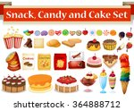 many kind of snack and candy... | Shutterstock .eps vector #364888712