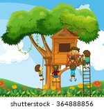 children climbing up the... | Shutterstock .eps vector #364888856