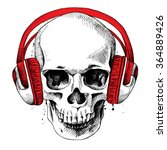 skull in a headphones. vector... | Shutterstock .eps vector #364889426