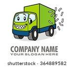 smiling boxcar mascot cartoon...   Shutterstock .eps vector #364889582