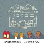 homeless family dreaming about... | Shutterstock .eps vector #364965722
