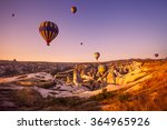 hot air balloon flying over... | Shutterstock . vector #364965926