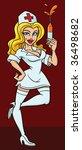 sexy cartoon nurse with syringe....   Shutterstock .eps vector #36498682