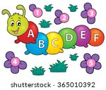 happy caterpillar with letters... | Shutterstock .eps vector #365010392