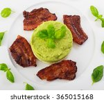 served roasted bacon with... | Shutterstock . vector #365015168