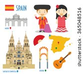 spain flat icon set travel and... | Shutterstock .eps vector #365048516