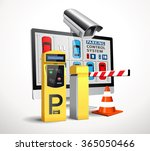 parking payment station  ... | Shutterstock .eps vector #365050466