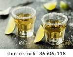 tequila shot with lime and sea... | Shutterstock . vector #365065118