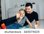 happy father and son waving to... | Shutterstock . vector #365074025