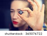 Hand Girl Holding A Dice For A...