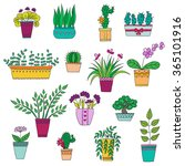 cute hand drawn vector flowers...   Shutterstock .eps vector #365101916