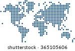 blue dots world map on white... | Shutterstock .eps vector #365105606