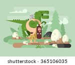 Primitive man with dinosaur