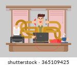 man office worker multitasking | Shutterstock .eps vector #365109425
