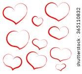 set hand draw heart in red... | Shutterstock . vector #365110832